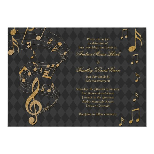 115 Wedding Processional Songs In Every Genre Of Music: Black Gold Harlequin Music Wedding Invitation