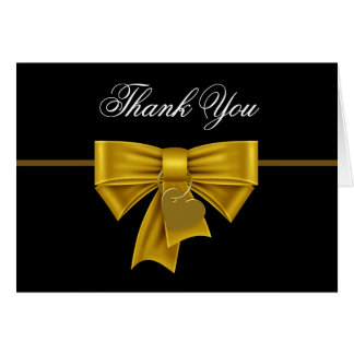 Black Gold Heart Bow Thank You Cards Note Card