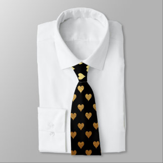 Black gold heart elegant pattern tie