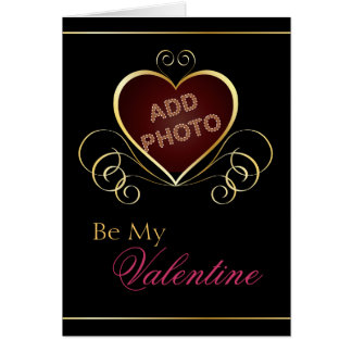 Black Gold Heart Photo Frame Valentine Card