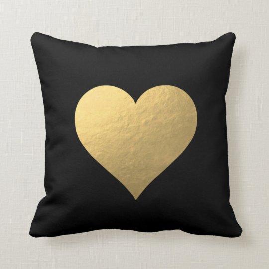black gold heart pillow. Black Bedroom Furniture Sets. Home Design Ideas