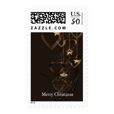 Valentines Themed Black Gold Heart Shape Bell Christmas Decor Postage