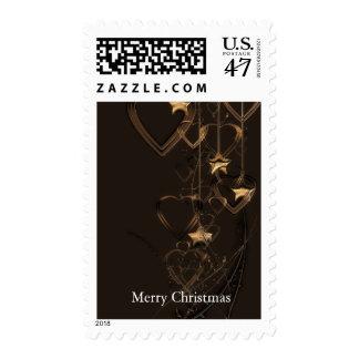 Black Gold Heart Shape Bell Christmas Decor Postage Stamp