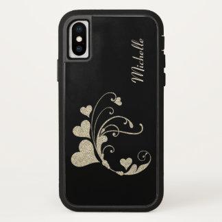 Black Gold Heart Swirl Faux Glitter iPhone X Case