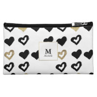 Black & Gold Hearts Monogram Cosmetic Bag