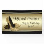 Black Gold High Heel Shoe Birthday Party Banner