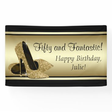 birthday Black Gold High Heel Shoe Birthday Party Banner