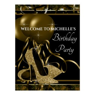 Black Gold High Heel Shoe Birthday Party Sign