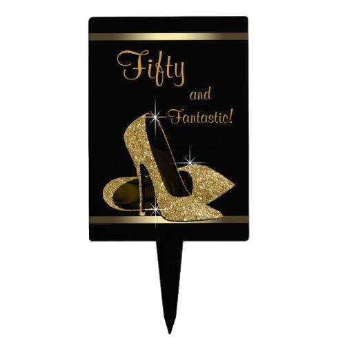 Black Gold High Heel Shoe Cake Topper