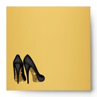 Black Gold High Heel Shoe Envelope