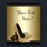 """Black Gold High Heel Shoe Flyer<br><div class=""""desc"""">Elegant Black and gold high heel shoe flyer with beautiful pair of gold glitter high heel shoes on a black and gold background. You can add the text of your choice in the font style you prefer. You can add text, images, logos, etc., to the front and back as needed....</div>"""