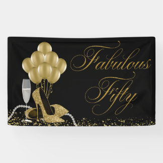 Black Gold High Heel Shoe Pearls 50th Birthday Banner