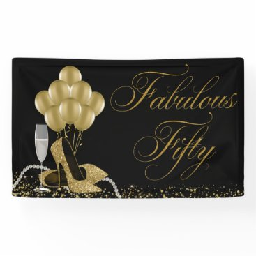 birthday Black Gold High Heel Shoe Pearls 50th Birthday Banner
