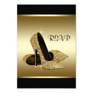 Black Gold High Heel Shoe RSVP Card