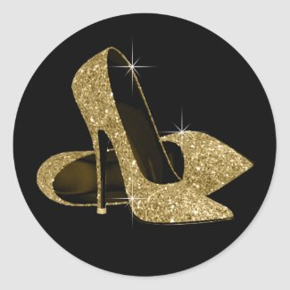Black Gold High Heels Womans Birthday Party 5.25x5.25 ...