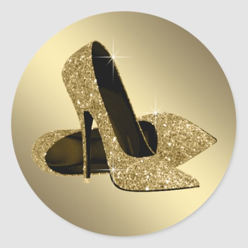 Black Gold High Heel Shoe Stickers