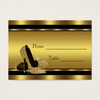 Black Gold High Heel Shoe Table Seating Cards