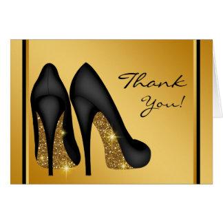 Black Gold High Heel Shoe Thank You Card