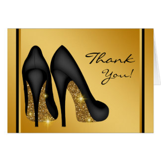 Black Gold High Heel Shoe Thank You Stationery Note Card