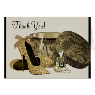 Black Gold High Heel Shoes Thank You Cards Note Card