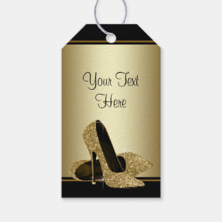 Black Gold High Heel Shoes Womans Birthday Gift Tags