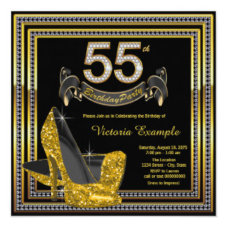 Black Gold High Heel Womans 55th Birthday Party Card