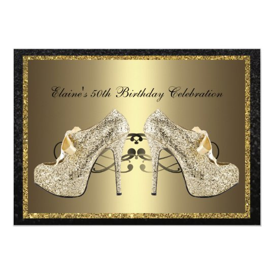 Black Gold High Heels 50th Woman's Birthday Invite