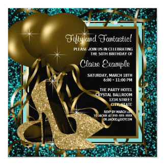 Black Gold High Heels Birthday Party Invitation