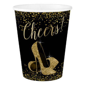 Black Gold High Heels Cheers Party Paper Cup