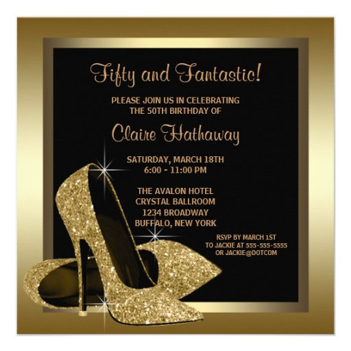 Black Gold High Heels Womans 50th Birthday Personalized Announcement