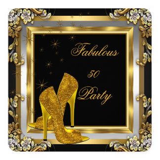 Black Gold High Heels Womans Birthday Party 2 Card