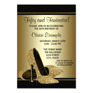 Black Gold High Heels Womans Birthday Party 3.5x5 Paper Invitation Card
