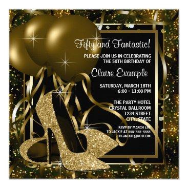 birthday Black Gold High Heels Womans Birthday Party Card