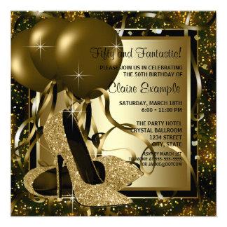 Black Gold High Heels Womans Birthday Party Custom Invitations