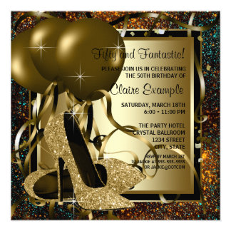 Black Gold High Heels Womans Birthday Party Personalized Invitations