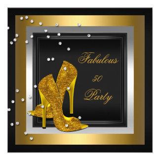 Black Gold High Heels Womans Birthday Party Custom Announcement