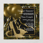 """Black Gold High Heels Womans Birthday Party Invitation<br><div class=""""desc"""">Elegant black and gold glitter high heel shoes woman's birthday party invitations. This woman's elegant black and gold birthday party invitation is easily customized for your party or event by adding your event details,  font style,  font size & color,  and wording.</div>"""