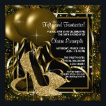"Black Gold High Heels Womans Birthday Party Invitation<br><div class=""desc"">Elegant black and gold glitter high heel shoes woman's birthday party invitations. This woman's elegant black and gold birthday party invitation is easily customized for your party or event by adding your event details,  font style,  font size & color,  and wording.</div>"