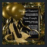"Black Gold High Heels Womans Birthday Party Invitation<br><div class=""desc"">Elegant black and gold glitter high heel shoes woman"