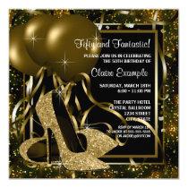 Black Gold High Heels Womans Birthday Party Invitation