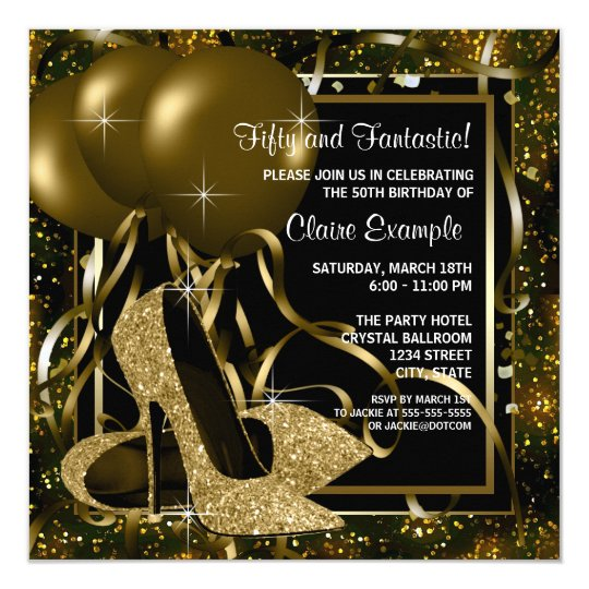 Black gold high heels womans birthday party invitation zazzle black gold high heels womans birthday party invitation filmwisefo