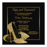 Black Gold High Heels Womans Birthday Party Custom Announcements