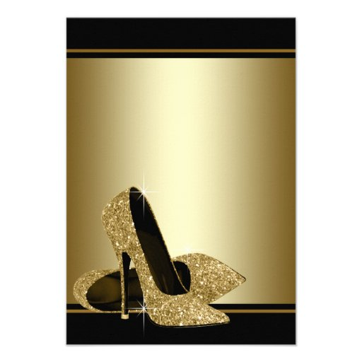 Black Gold High Heels Womans Birthday Party Invite (back side)