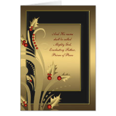 Black Gold Holly Christian Christmas Cards at Zazzle