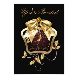 Black Gold Holly Christmas Party Invitations