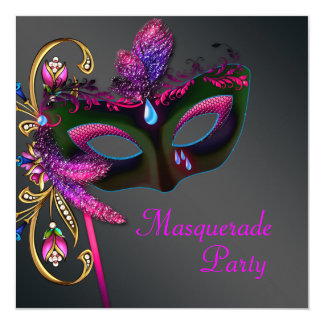 Black Gold Hot Pink Masquerade Party 5.25x5.25 Square Paper Invitation Card