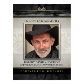 Black & Gold In Loving Memory Sympathy Thank You Postcard