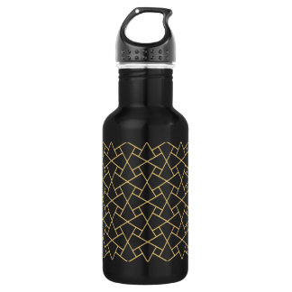 Black Gold Islamic Pattern Custom Water Bottle