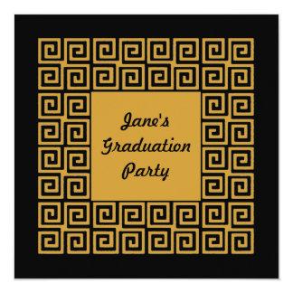 Black Gold Key Pattern Grad Party Invitation