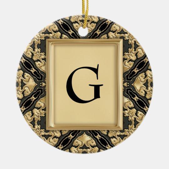 Black & Gold Lace Ceramic Ornament